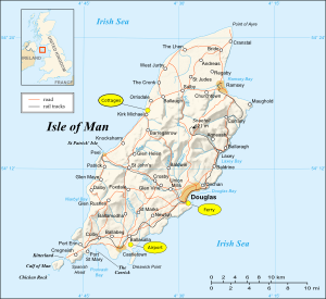 Map of Isle of Man with cottages marked